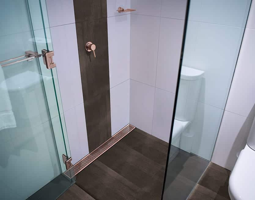 Picture Of A Bespoke Rose Gold Shower Channel