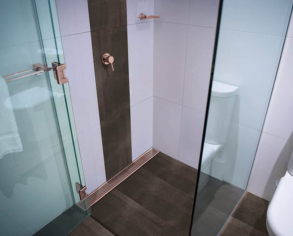 Rose Gold Channel In Bespoke Shower